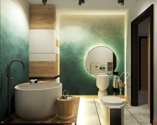 Nowoczesne wnętrze przestronnej łazienki