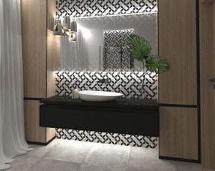 Modna łazienka przy sypialni z geometrią i drewnem w roli głównej