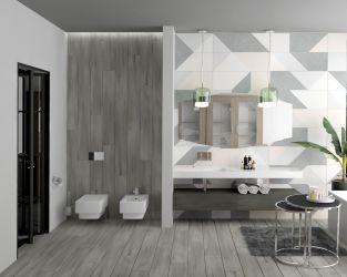 Geometryczny projekt przestronnej łazienki