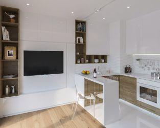 Połączona przestrzeń salonu i kuchni w kawalerce