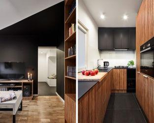 Ciemnoszare płytki jako posadzka w hallu i kuchni
