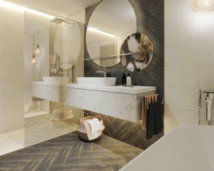 Ekstrawagancja w połączeniu z prostotą w interesującej łazience