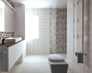 Kamienna grafika płytek i efekt geometrycznej mozaiki w łazience