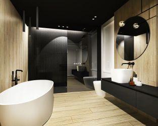 Drewno i jasno-ciemne kolory w łazience