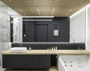 Szarość, czerń i drewno w nowoczesnej łazience