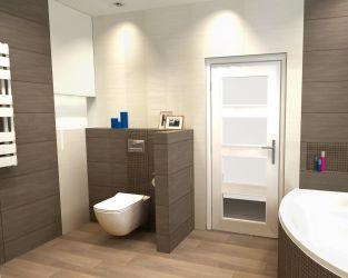 Subtelność drewna i florystycznych motywów w biało-szare łazience