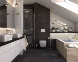 Kamień, drewno i wspomnienia w łazience na poddaszu