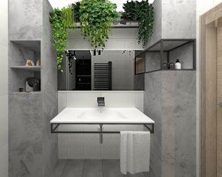 Funkcjonalna łazienka w jasnych szarościach