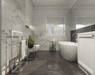 Elegancja marmuru w biało-szarej łazience