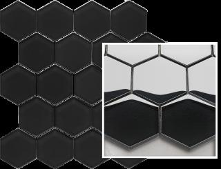 Uniwersalna Mozaika Prasowana Nero Paradyż Hexagon - Czarny - 220x255 - Płytki elewacyjne - Uniwersalne mozaiki prasowane