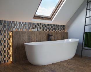Łazienka w kolorach ziemi z efektowną ciętą mozaiką