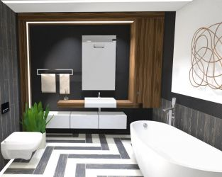 Duża łazienka inspirowana drewnem