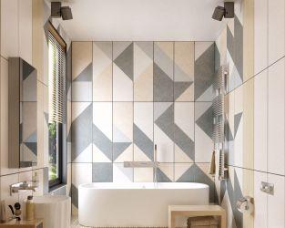 Geometryczne zabawy w łazience z wolno stojącą wanną