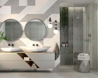 Geometria, pudrowy róż i subtelne szarości w modnej łazience
