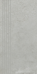 Optimal Grys Stopnica Prosta Nacinana Mat.  - Szary - 298x598 - Elementy wykończeniowe - Optimal