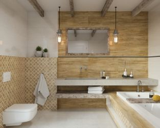 Biel, geometria i słoje drewna w łazience