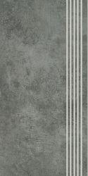 Scratch Nero Stopnica Prosta Nacinana Półpoler - Czarny - 298x598 - Płytki elewacyjne - Scratch