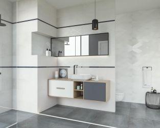 Subtelna geometria w biało-szarej łazience